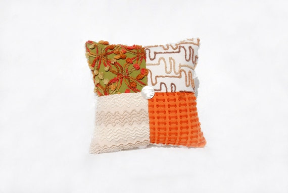 Chenille Pillow - Persimmon Orange Avocado Green Vintage Chenille Handmade Charm Pillow called --Persimmon Patty--Fall Autumn Colors