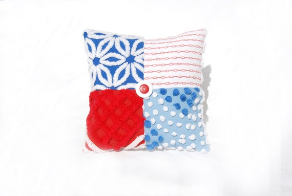 Chenille Charm Pillow - Stars n Stripes - Red White blue Americana Vintage Chenille Handmade Charm Pillow