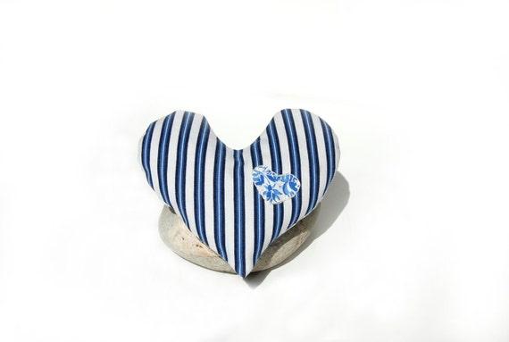I am Blue for Love - Heart Shaped French Ticking Lavender Sachet