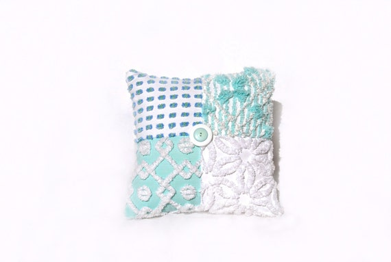 Chenille Pillow - Beachy Babette - Aqua Blue Green Vintage Chenille Handmade Charm Pillow