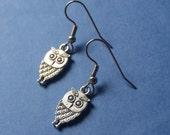 tiny wise owl earrings