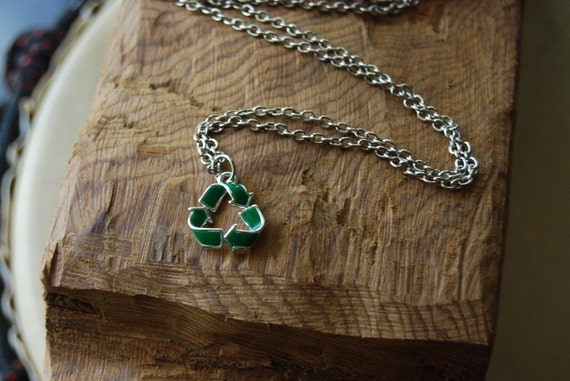 Recycle sign necklace