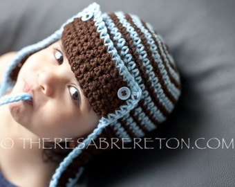 Easy Crochet Pattern for Striped Aviator Helmet / Hat - Sizes Newborn to Adult. ((This is a pattern NOT a hat))