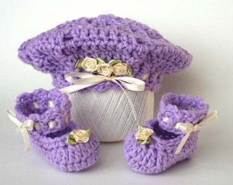 Easy Crochet Pattern for Baby Tam and Slippers - Newborn to 3 months