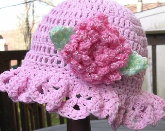 Easy Crochet Pattern for Ruffled Brim Hat with Flower Pin - Sizes Newborn to Adult. ((This is a pattern NOT a hat))