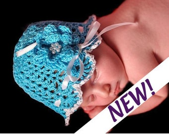 East Crochet Pattern for Victorian Lacy Baby Hat with Flower  -  Size Newborn and Preemie. ((This is a pattern NOT a hat))