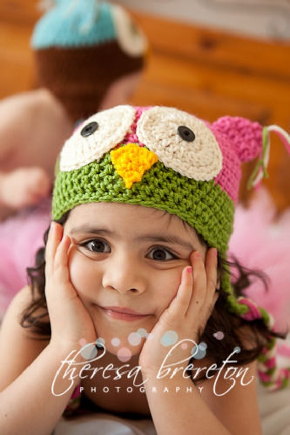 Easy Crochet Pattern for OWL HATS Helmets with Ear Flap - Sizes Newborn/Infant/Child/Adult. ((This is a pattern NOT a hat))