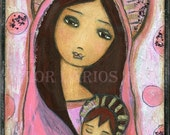 Sweet Dreams - Mother and Son - Folk Art  PRINT from Painting (8 x 10  inches Print) by FLOR LARIOS
