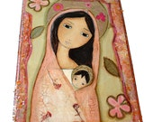Madonna in Pink - Giclee print mounted on Wood- Made to Order-  Folk art  by FLOR LARIOS
