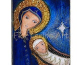 Nativity Mary with Baby Jesus - Mixed Media Original Painting  8 x 10 inches - By FLOR LARIOS