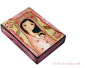 Madonna in Pink - ACEO Giclee print mounted on Wood (2.5 x 3.5 inches) Folk Art  by FLOR LARIOS