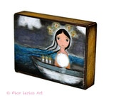 Sailing with the Moon in my Heart - ACEO Giclee print mounted on Wood (2.5 x 3.5 inches) Folk Art  by FLOR LARIOS