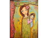 Nuestra Primavera - Our Spring- Mother Daughter Love - Print from Painting 8 x 10 inches By FLOR LARIOS