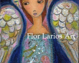 My Wings are for You - Angel -  Print from  Painting by FLOR LARIOS (5 x 7 INCHES)