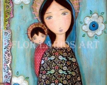 Blue Veil Madonna - Mother and Son - Folk Art  Print from Painting (6 x 8  inches PRINT) by FLOR LARIOS