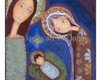 Holy Night -   Print from  Painting by FLOR LARIOS (7 x 7 INCHES)