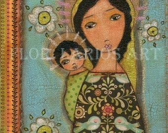 Black Madonna with Child - Mother and Child - Reproduction from Painting by FLOR LARIOS (8 x 10 Inches Print)  )