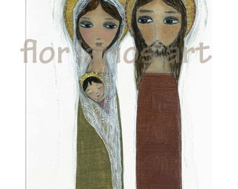 Sacred Family - Folk Art  Print from Painting (8 x 10 inches PRINT) by FLOR LARIOS