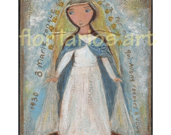 Our Lady of Miraculous Medal - Folk Art Print  from Mixed Media Collage Painting (6 x 8 inches PRINT) by FLOR LARIOS