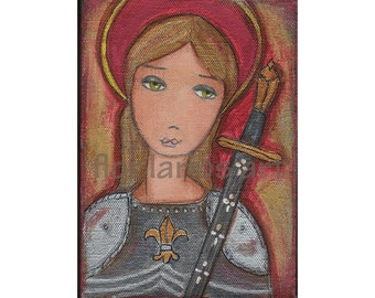 Saint Joan of Arc - Reproduction from Painting by FLOR LARIOS (5 x 7 Inches Print)