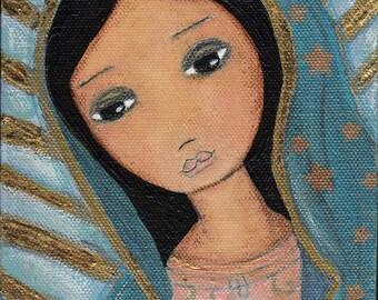 Nuestra Señora de Guadalupe - Folk Art (5 x 7 inches PRINT)  by FLOR LARIOS
