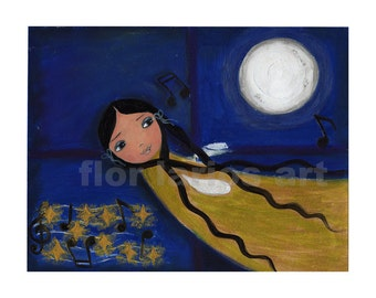 Night Fairy -  Print from Original Painting by FLOR LARIOS (6 x 8 INCHES)