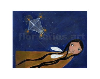 Flying with my Kite -  Print from Original Painting by FLOR LARIOS (6 x 8 INCHES)