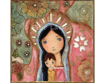 Madonna of the Flowers- Folk Art  Print from Painting (7 x 7  inches ) by FLOR LARIOS