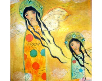Hope and Love -  Angels Print  from Painting by FLOR LARIOS (7 x 7inches print)