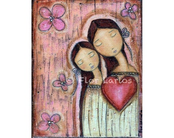 Un Solo Corazon - Mother Daughter Love - Print  from Painting by FLOR LARIOS (8 x 10 INCHES)