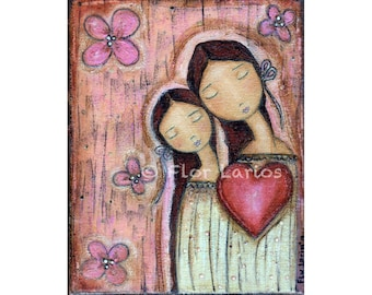 Un Solo Corazon - Mother Daughter Love - Print  from Painting by FLOR LARIOS (6 x 8 INCHES)
