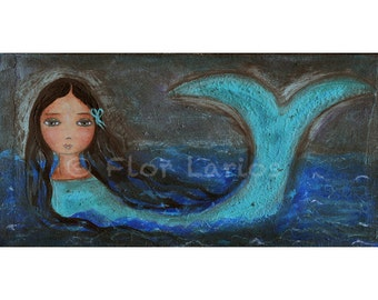 The Mermaid- The Sea- and I - Folk Art  Print from Painting (5 x 10  inches Print) by FLOR LARIOS