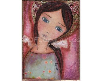 Angel of Peace- Reproduction from Painting by FLOR LARIOS (5 x 7 Inches print)