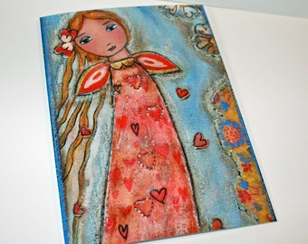 Loving Fairy - Greeting Card 5 x 7 inches - Folk Art By FLOR LARIOS