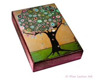 Little White Bird Tree - ACEO Giclee print mounted on Wood (2.5 x 3.5 inches) Folk Art  by FLOR LARIOS
