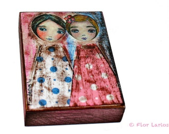 Girls - ACEO Giclee print mounted on Wood (2.5 x 3.5 inches) Folk Art  by FLOR LARIOS