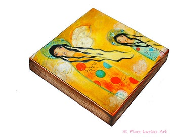 Hope and Love Angels -  Giclee print mounted on Wood (4 x 4 inches) Folk Art  by FLOR LARIOS