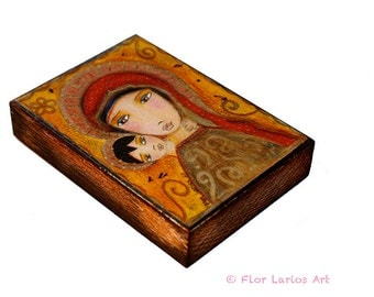 Byzantine Madonna - ACEO Giclee print mounted on Wood (2.5 x 3.5 inches) Folk Art  by FLOR LARIOS