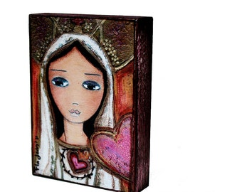 Fatima  - ACEO Giclee print mounted on Wood (2.5 x 3.5 inches) Folk Art  by FLOR LARIOS