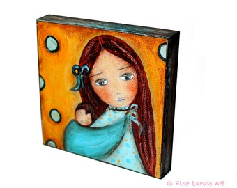 Lullaby -   Giclee print mounted on Wood (4 x 4 inches) Folk Art  by FLOR LARIOS