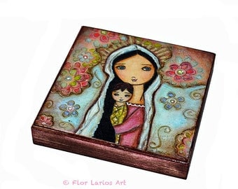 Madonna with Child and Flowers-   Giclee print mounted on Wood (4 x 4 inches) Folk Art  by FLOR LARIOS
