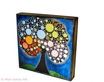 Blooming Tree -  Giclee print mounted on Wood (8 x 8 inches) Folk Art  by FLOR LARIOS