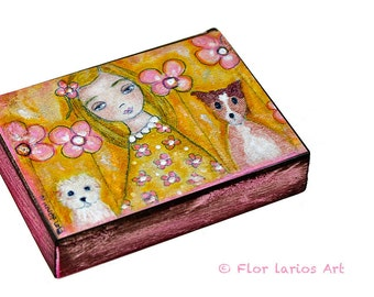 Girls with Dogs - ACEO Giclee print mounted on Wood (2.5 x 3.5 inches) Folk Art  by FLOR LARIOS