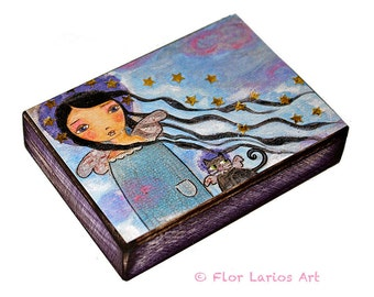 In Heaven with my Cat - ACEO Giclee print mounted on Wood (2.5 x 3.5 inches) Folk Art  by FLOR LARIOS