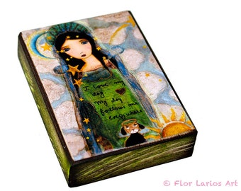 In Heaven with my Dog - ACEO Giclee print mounted on Wood (2.5 x 3.5 inches) Folk Art  by FLOR LARIOS