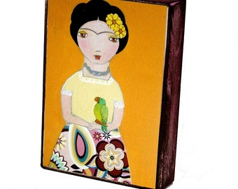 Frida with Parrot - ACEO print mounted on Wood (2.5 x 3.5 inches) Folk Art FLOR LARIOS