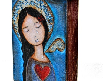 Tears Self-Portrait - ACEO Giclee print mounted on Wood (2.5 x 3.5 inches) Folk Art  by FLOR LARIOS
