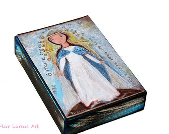 Our Lady of Miraculous Medal - ACEO Giclee print mounted on Wood (2.5 x 3.5 inches) Folk Art  by FLOR LARIOS