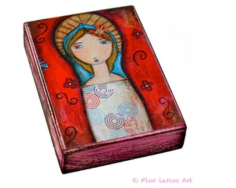 Red Madonna  - ACEO Giclee print mounted on Wood (2.5 x 3.5 inches) Folk Art  by FLOR LARIOS