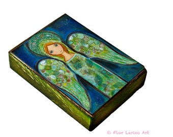 Angel Verde - ACEO Giclee print mounted on Wood (2.5 x 3.5 inches) Folk Art  by FLOR LARIOS